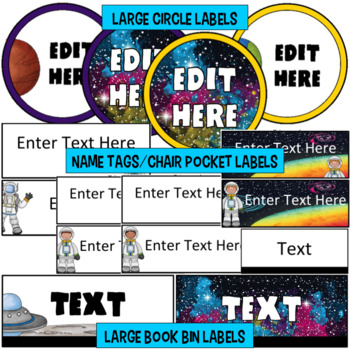Outer Space Classroom Theme - Editable Signs