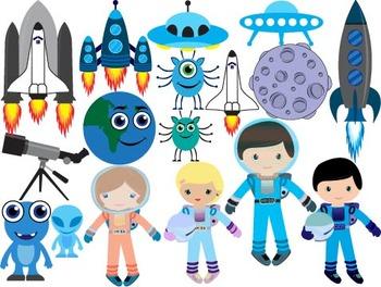 Outer Space Clip Art spaceship planet moon satellite spacecraft cosmonaut-045