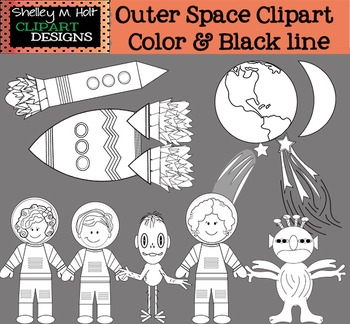 Outer Space Clipart - Black line only