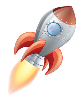 Outer Space Clipart: Rocket, planets, asteroids, space background