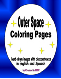 Hand Drawn Outer Space Coloring Pages (English and Spanish)