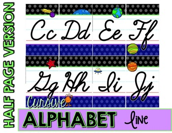 Outer Space Cursive Alphabet Line - Polka Dot
