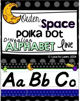 Outer Space D'Nealian Alphabet Line - Polka Dot