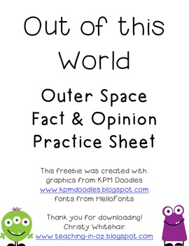 Outer Space Fact and Opinion Freebie