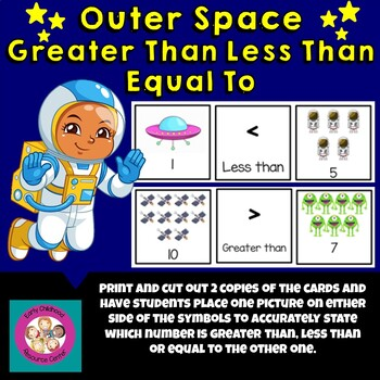 Outer Space Greater Than, Less Than, Equal To Game Cards