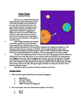 Outer Space - Informational Text Test Prep