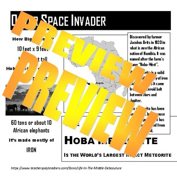 Outer Space Invader Hoba Meteorite