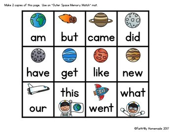 Sight Word Center {Outer Space Memory Match}