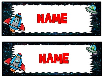 Space themed editable nametags, name tags, desk plates