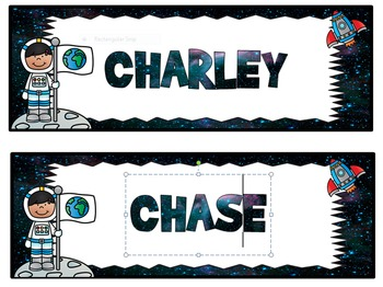 Space themed editable nametags, name tags, desk plates