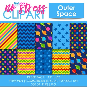 Outer Space Planets Digital Papers