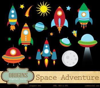 Outer Space Rocket Adventure Clipart