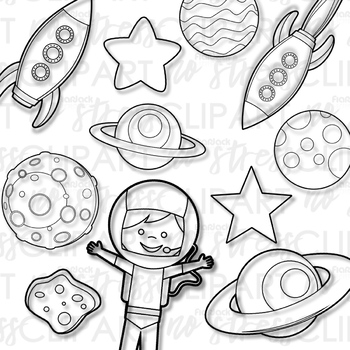 Outer Space Rockets Clip Art (Digital Use Ok!)