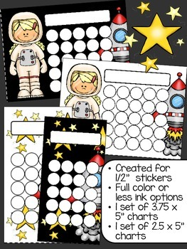 Outer Space Sticker Incentive Charts - Full Color and Less-Ink Options
