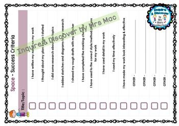 SPACE RUBRIC - 24 Questions & Answers, Marking Checklist, Success Criteria