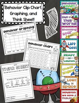 Outer Space Theme Classroom Decor Bundle (Behavior Chart, Name Plates, Signs)