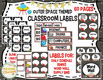 Outer Space Theme Classroom Labels Kit
