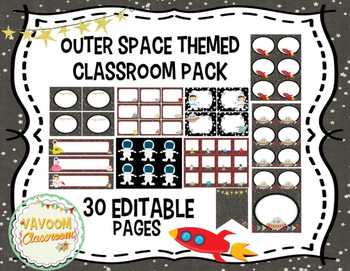 Outer Space Theme Classroom Pack (with Editable Slides!)