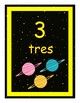Outer Space Theme Numbers 1-10 in Spanish