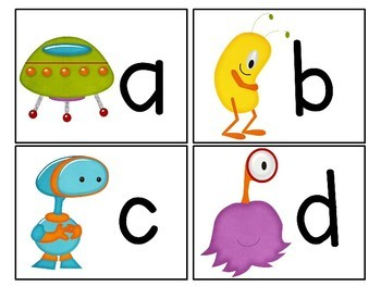 Outer Space Themed Alphabet Match-Up