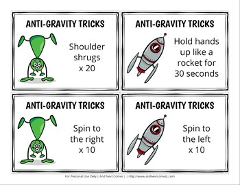 Outer Space Themed Brain Break Cards