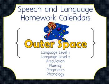 Outer Space-Themed Speech & Language Homework Calendar