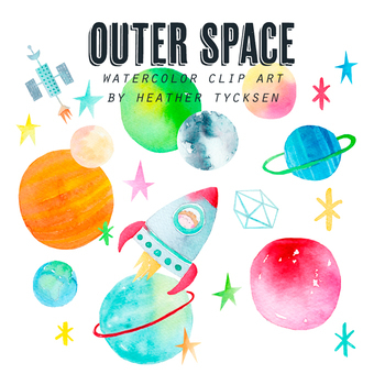 Outer Space Watercolor Clip Art