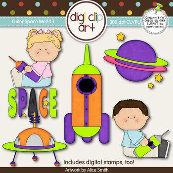 Outer Space World 1-  Digi Clip Art/Digital Stamps - CU Clip Art
