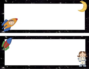 Outer Space themed name plates