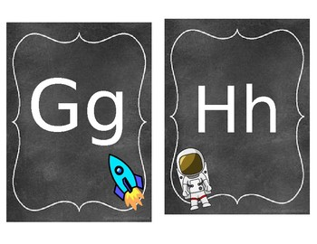 Outer space Theme Cursive Alphabet