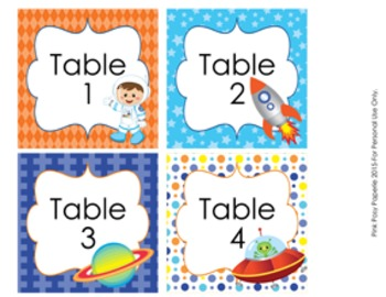 Outerspace Astronaut Table Numbers