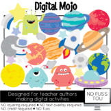 Outerspace Clipart, NO FUSS TOU, Moveable Pieces for Digital Activities