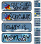 Outerspace Space Theme Pocket Chart Subject Schedule Cards and Calendar
