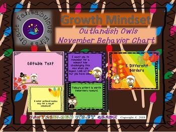 Outlandish Owls November Behavior Clip Chart
