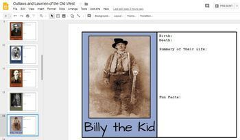 Outlaws and Lawmen of the Old West - Biography Cards to Complete - Google Drive