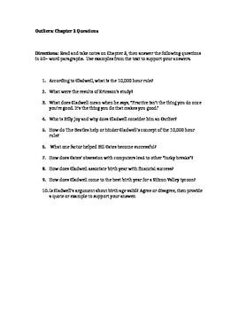 Outliers Chapter 2 Study Questions