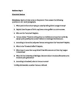Outliers Chapter 3 Study Questions