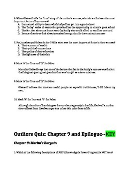 Outliers by Malcolm Gladwell Chapters 9 and Epilogue Quiz