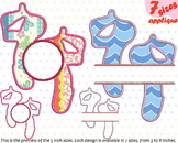 Outline Ballet Shoes Applique Designs for Embroidery hoop icon symbol sign 5a