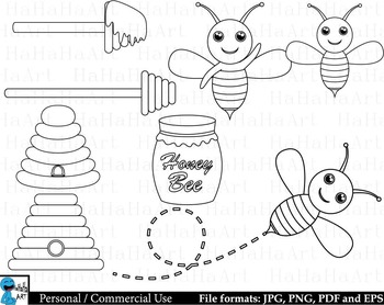 Outline Bees - Digital Clipart, Clip Art Graphics - 30 images cod217