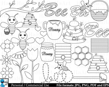 Outline Bees - Digital Clipart, Clip Art Graphics - 30 ima