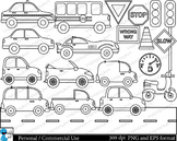 Outline Cars Set Clipart - Digital Clip Art Graphics 21 images cod111