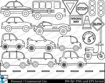 Outline Cars Set Clipart - Digital Clip Art Graphics 21 images cod111