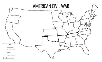 outline civil war map by haystory lessons teachers pay