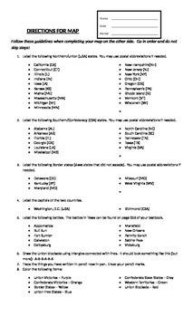 Outline Civil War Map Instructions