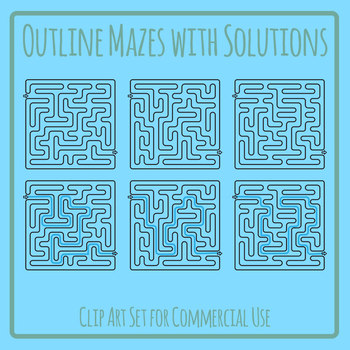 Outline Curved Mazes Clip Art Set for Commercial Use