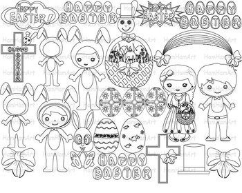 Outline Easter Clip Art PNG school coloring stamp bunny religious party -064-