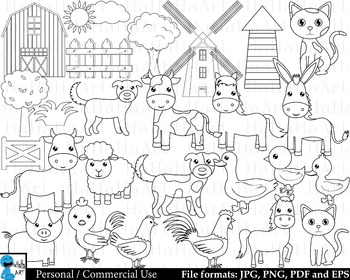 Outline Farm Animals Digital Clip Art Personal Commercial