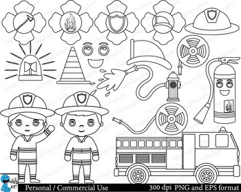 Outline Firefighters Digital ClipArt Personal, Commercial Use 36 images cod115