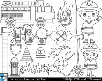 Outline Firefighters Digital ClipArt Personal, Commercial